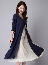 ericdress ethic double layer long sleeve casual dress 12209221