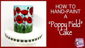 hand painted cake poppy field easy how to youtube