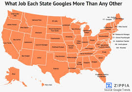 Usa Map By States by This Surprising Map Shows What Job Each State Googles More Than