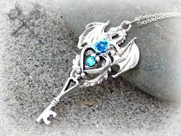 dragon key necklace images Silver and aqua crystal dragon key necklace by artbystarlamoore on jpg