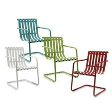 Retro Patio Furniture Sets Bouncy Patio Chairs Outdoor Chairs Metal Lawn Chairs Black Metal