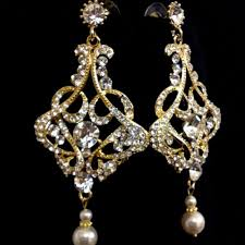 art deco gold bridal earrings victorian wedding jewelry carmen