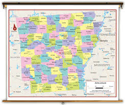 Arkansas State Map With Cities by Arkansas State Political Classroom Map From Academia Maps