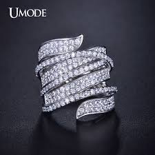 diamond cocktail rings umode ring unique shaped white gold color cz paved