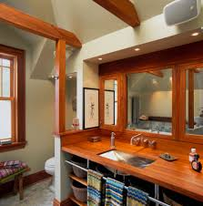 towel bar bathroom eclectic with recessed lighting exposed beams