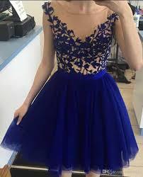short cocktail dresses 2017 royal blue cap sleeves scoop knee