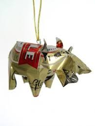 warthog ornament handmade from recycled tin cans in zimbabwe
