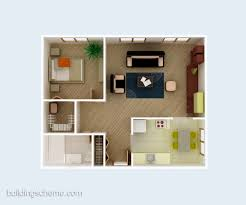 simple 3d house plan with one bedroom with closet living room