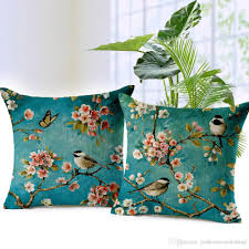 Sofa Pillows Covers by Peach Blossom Cushion Covers Flower Birds Throw Pillows Covers