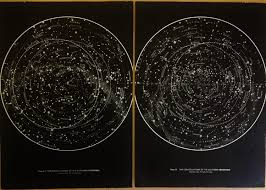 Sky Maps 1950 U0027s Original Stars U0026 Constellations Maps Hemispheres Vintage