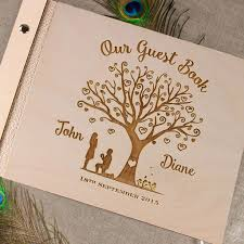 personalized album tree heart engraved wood guest book personalized wedding photo