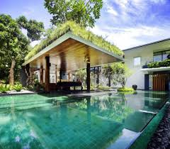green home gazebo design besides swimming pool with green roof