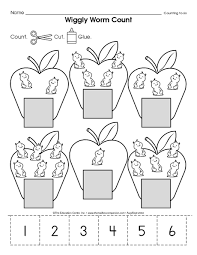matching numbers 1 6 to sets apples pinterest worms count