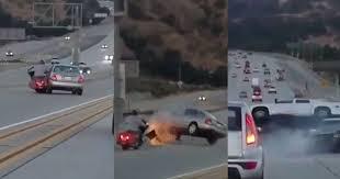 bike vs car road rage incident results in massive crash