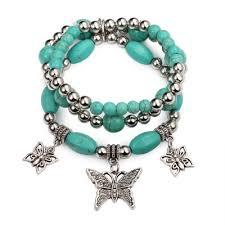 silver beaded charm bracelet images Stretch charm bracelet set turquoise silver beaded butterfly bracelets jpg