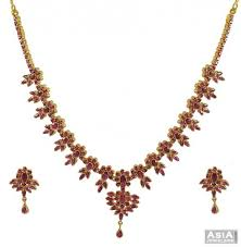 gold necklace ruby images 22k gold ruby necklace set ajns53839 22k gold nsclace earring jpg