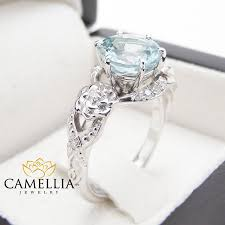 aquamarine engagement rings unique aquamarine engagement ring 14k white gold 2 carat