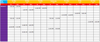monthly work schedule template at document templates