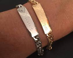 his and hers engraved bracelets couples bracelet set etsy