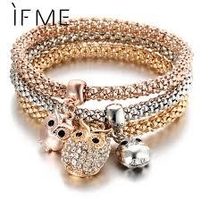 rose rhinestone bracelet images If me 3 pcs set crystal owl crown metal charm bracelets bangles jpg