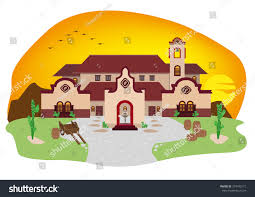 mediterranean house cartoon illustration spanish mediterranean house mexican stock