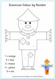 scarecrow colour number thanksgiving fall coloring crafts