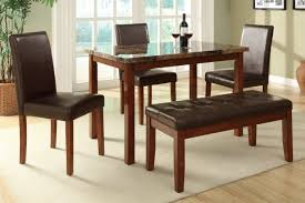 Brown Leather Bench Seat Furniture Brown Wooden Dining Set With Benches Having Brown