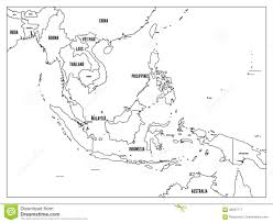 Map East Asia by South East Asia Political Map Black Outline On White Background