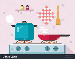Interior Of Kitchen Interior Kitchen Pans On Stove Cooking Stock Vector 326686445