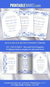 Wedding Program Card Stock Royal Blue And Silver Wedding Invitation Templates For Microsoft