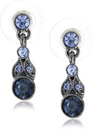 navy blue earrings 1928 jewelry hematite tone and tonal blue drop