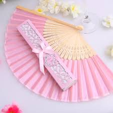 wedding gift price 100pcs lot pink color silk fan in gift box wedding favors