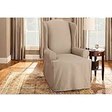amazon com sure fit duck solid wing chair slipcover natural