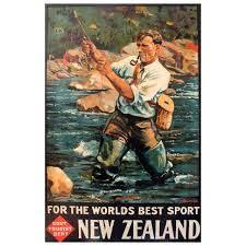 original vintage travel poster new zealand fly fishing the