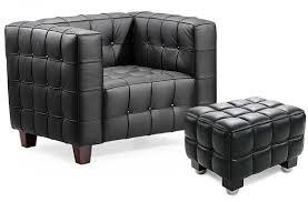 siege capitonné fauteuil capitonné avec ottoman cuir noir inspiré josef hoffman