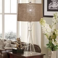 stylish coastal table lamps seafoam blue glass base white linen