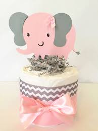 Baby Shower Centerpieces by Mini Chevron Elephant Diaper Cake Elephant Theme Baby Shower
