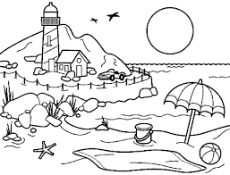 beach scene coloring pages getcoloringpages