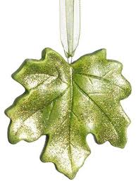 home princess garden maple leaf glitter ornament