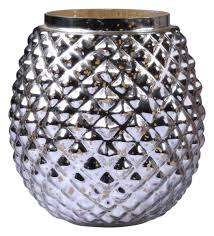 wholesale hobnail crystal cut glass tea light holder silver tone