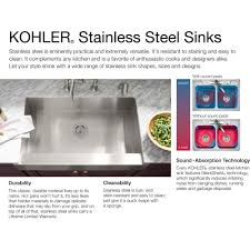 kohler staccato drop in sink kohler k 3361 4 na staccato stainless steel kitchen sinks sinks