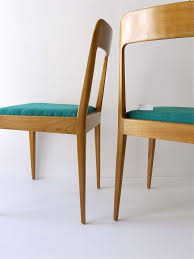 Wooden Chair Pair Of Carl Aubock Modernist Wooden Chairs A7 With Green Fabric