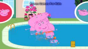 peppa pig mummy pig daddy pig and george pig go swimming peppa