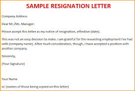 example of resignation letter custom college papers sample of