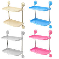 Plastic Bathroom Shelves by Double Layer Bathroom Storage Hanger Rack Kitchen Strong Chuck