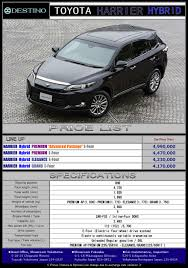 lexus harrier 2016 price toyota harrier hybrid destino u0027s export new car