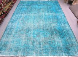 Overdyed Area Rugs by Vintage Turkish Oushak Art Overdyed Carpet Ocean Blue Color Area