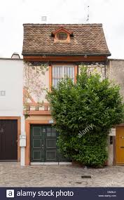 small house with flower ornaments on the wall single window