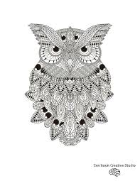 owl digital coloring page u2014 zen brain design