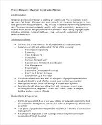 Job Desk Project Manager Construction Project Manager Job Description Template